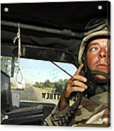Soldier Monitors The Progress Of A 67 Acrylic Print
