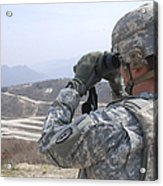 Soldier Observes An Adjust Fire Mission Acrylic Print