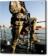 Soldier Stands Watch Aboard Uss Momsen Acrylic Print