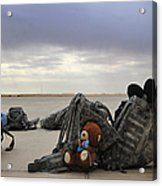 Soldiers Backpacks On The Flight Line Acrylic Print
