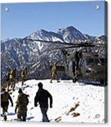 Soldiers Board A U.s. Army Uh-60 Black Acrylic Print