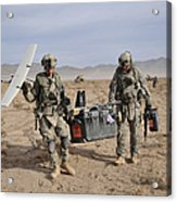 Soldiers Carry An Rq-11 Raven Unmanned Acrylic Print