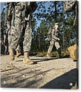Soldiers Conduct A Ruck March At Fort Acrylic Print