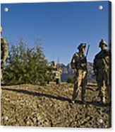 Soldiers Discuss A Strategic Plan Acrylic Print