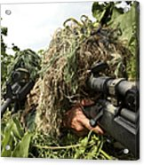 Soldiers Dressed In Ghillie Suits Acrylic Print