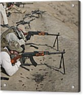Soldiers Fire A Russian Rpk Kalashnikov Acrylic Print