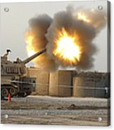 Soldiers Fire The Howitzers Acrylic Print
