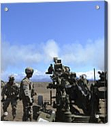 Soldiers Firing The M777 Howitzer Acrylic Print