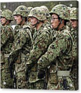 Soldiers From The Japan Ground Self Acrylic Print by Stocktrek Images