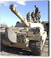 Soldiers Get Their Battletank Ready Acrylic Print