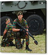 Soldiers Of An Infantry Unit Acrylic Print by Luc De Jaeger