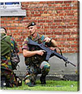 Soldiers Of The Belgian Army Helping Acrylic Print by Luc De Jaeger