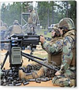 Soldiers Operate A Mk-19 Grenade Acrylic Print by Stocktrek Images