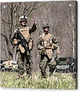 Soldiers Perform A Site Survey In Camp Acrylic Print