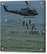 Soldiers Rappel From A Helicopter Acrylic Print