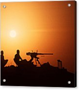 Soldiers Set Up A Security Outpost Acrylic Print