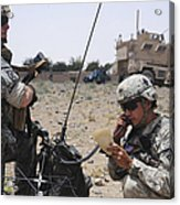 Soldiers Setting Up A Satellite Acrylic Print
