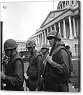 Soldiers Stand Guard Near Us Capitol Acrylic Print