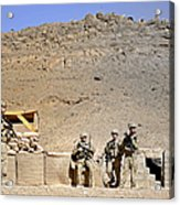 Soldiers Wait For Afghan National Acrylic Print