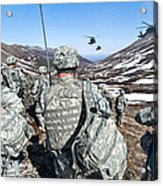 Soldiers Wait For Uh-60 Black Hawk Acrylic Print