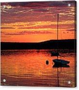 Solitary Sailboat At Sundown Acrylic Print