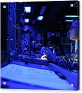 Sonar Technician Stands Watch Acrylic Print by Stocktrek Images