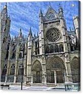 South Facade Of Leon White Gothic Acrylic Print