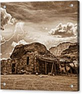 Southwest Indian Rock House And Lightning Striking Acrylic Print by James BO  Insogna