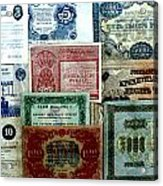 Soviet Currency At Euthimiev Monastry Prison Museum Acrylic Print