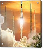 Soyuz-2 Rocket Launch, Artwork Acrylic Print