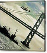 Space Shuttle And San Francisco Bay Bridge  Acrylic Print