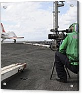 Specialist Records Video Of Flight Deck Acrylic Print