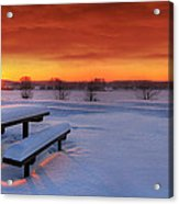 Spectaculat Winter Sunset Acrylic Print by Jaroslaw Grudzinski