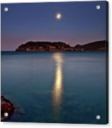 Spinalonga Full Moon Acrylic Print by Christos Tsoumplekas