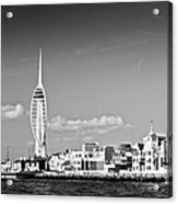Spinnaker Tower And Round Tower Portsmouth Bw Acrylic Print