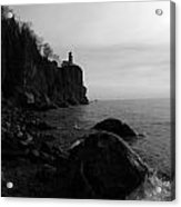 Split Rock Lighthouse  Black-and-white Acrylic Print