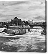 Spokane Falls From Lincoln Street Bridge In B And W Acrylic Print