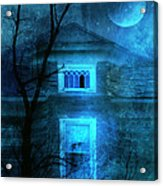 Spooky House With Moon Acrylic Print by Jill Battaglia