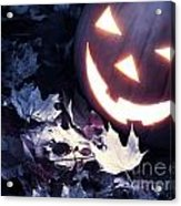 Spooky Jack-o-lantern On Fallen Leaves Acrylic Print