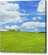 Spring Farm Landscape With Blue Sky In Maine Acrylic Print