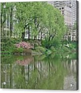 Spring Reflections Of Manhattan In Central Park Acrylic Print