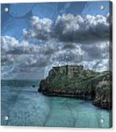 St Catherines Rock Tenby With A Shell Texture Acrylic Print