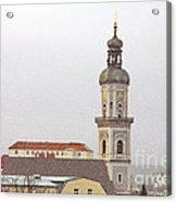 St. George In Snow - Freising Bavaria Germany Acrylic Print