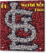 St. Louis Cardinals World Series Bottle Cap Mosaic Acrylic Print
