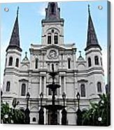 St Louis Cathedral And Fountain Jackson Square French Quarter New Orleans Accented Edges Digital Art Acrylic Print