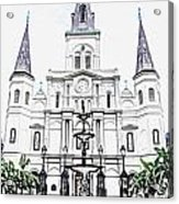 St Louis Cathedral And Fountain Jackson Square French Quarter New Orleans Colored Pencil Digital Art Acrylic Print