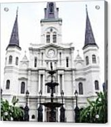 St Louis Cathedral And Fountain Jackson Square French Quarter New Orleans Diffuse Glow Digital Art Acrylic Print