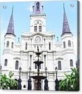 St Louis Cathedral And Fountain Jackson Square French Quarter New Orleans Film Grain Digital Art Acrylic Print