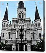 St Louis Cathedral And Fountain Jackson Square French Quarter New Orleans Fresco Digital Art Acrylic Print