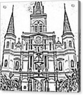 St Louis Cathedral And Fountain Jackson Square French Quarter New Orleans Photocopy Digital Art Acrylic Print